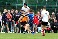 Saturday 5th September 2021<br /> <br /> Nathan Hook is challenged in the air by Aidan Henry during U18 Clubs inter-pro between Ulster Rugby and Leinster at Newforge Country Club, Belfast, Northern Ireland. Photo by John Dickson/Dicksondigital