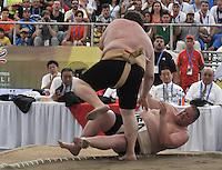 CALI - COLOMBIA - 26-07-2013: Combates de Suma durante los IX Juegos Mundiales Cali julio 26 de 2013.(Foto: VizzorImage / Luis Ramirez / Staff.) Sumo Combats during the IX World Games Cali July 26, 2013. (Photo: VizzorImage / Luis Ramirez / Staff.)