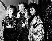Les VJ de Musique Plus,: Sonia Vachon (L), Marc Carpentier (M) and Sonia Benezra (R).<br /> le 17 descembre 1986<br /> <br /> Photo : Agence Quebec Presse - Pierre Roussel