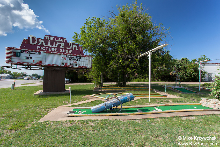 Abandoned miniature golf course w/ drive-in movie theatre sign in Gatesville, TX