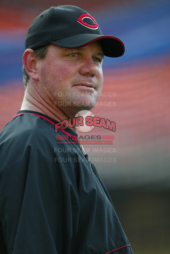 Cincinnati Reds Manager Dave Miley during a 2003 season MLB game at Dodger Stadium in Los Angeles, California. (Larry Goren/Four Seam Images)