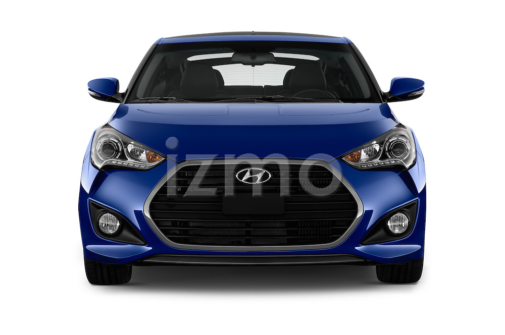 Car photography straight front view of a 2016 Hyundai Veloster 1.6-Turbo-Manual 4 Door Hatchback Front View