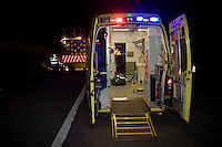 Ambulance attending an emergency incident on the motorway. This image may only be used to portray the subject in a positive manner..©shoutpictures.com..john@shoutpictures.com