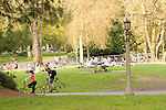 People enjoying a nice day in the park.