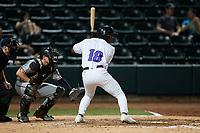 E.P. Reese (18) of the Winston-Salem Dash at bat against the Greensboro Grasshoppers at Truist Stadium on June 15, 2021 in Winston-Salem, North Carolina. (Brian Westerholt/Four Seam Images)