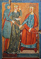 Gothic painted wood panels with scenes of the Martyrdom of Saint Lucy<br /> Circa 1300. Tempera on wood. Date Circa 1300. From the parish church of Santa Llúcia de Mur (Guàrdia de Noguera, Pallars Jussà). National Museum of Catalan Art, Barcelona, Spain, inv no: 035703-CJT