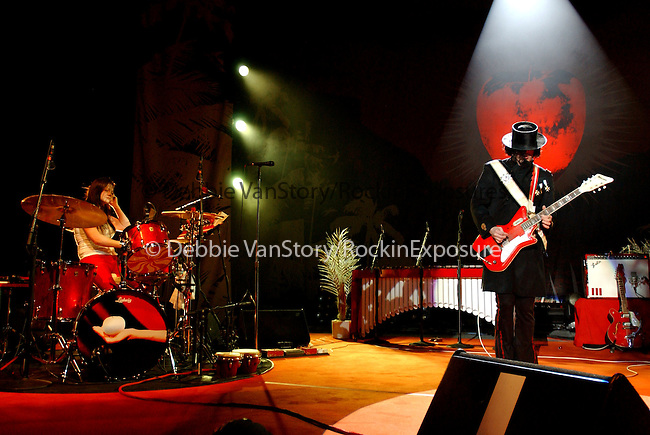 Meg White and Jack White of The White Stripes perform live at The Greek Theatre in Los Angeles,California on August 15,2005.(Pictured:Meg White,Jack White ).Copyright 2005 by RockinExposures