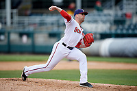Harrisburg Senators relief pitcher Derek Self (25) delivers a pitch during the first game of a doubleheader against the New Hampshire Fisher Cats on May 13, 2018 at FNB Field in Harrisburg, Pennsylvania.  New Hampshire defeated Harrisburg 6-1.  (Mike Janes/Four Seam Images)