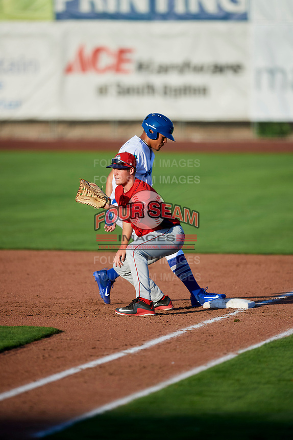 David MacKinnon (19) of the Orem Owlz on defense against the Ogden Raptors in Pioneer League action at Lindquist Field on June 21, 2017 in Ogden, Utah. The Owlz defeated the Raptors 16-5. This was Opening Night at home for the Raptors.  (Stephen Smith/Four Seam Images)