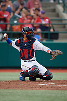 Brooklyn Cyclones catcher Ariel Yera (34) during a NY-Penn League game against the Tri-City ValleyCats on August 17, 2019 at MCU Park in Brooklyn, New York.  Brooklyn defeated Tri-City 2-1.  (Mike Janes/Four Seam Images)