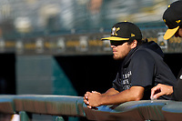 Bradenton Marauders pitcher Jared Jones (37) in the dugout during a game against the Palm Beach Cardinals on May 28, 2021 at LECOM Park in Bradenton, Florida.  (Mike Janes/Four Seam Images)