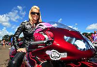 Aug. 21, 2011; Brainerd, MN, USA: NHRA pro stock motorcycle rider Angie Smith during the Lucas Oil Nationals at Brainerd International Raceway. Mandatory Credit: Mark J. Rebilas-