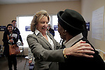 CORNELIUS, NC - NOVEMBER 1:  North Carolina Democratic incumbent for U.S. Senate Kay Hagan, center, greets campaign volunteer Mary Brown at Hagan's campaign office in Cornelius, NC, on Saturday, November 1, 2014.  Volunteers were preparing to canvass for votes just 3 days ahead of the election where Hagan faces Thom Tillis.  (Photo by Ted Richardson/For The Washington Post)