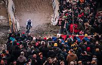 "Mathieu van der Poel (NED/Corendon-Circus) demonstrating his dominance once again in the infamous ""Pit"" aka ""De Kuil""<br /> <br /> Superprestige Zonhoven (BEL) 2018"