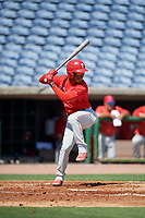 Philadelphia Phillies Luis Garcia (5) at bat during an Instructional League intrasquad game on September 28, 2019 at Spectrum Field in Clearwater, Florida.  (Mike Janes/Four Seam Images)