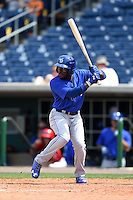 Dunedin Blue Jays outfielder Dwight Smith Jr. (25) during a game against the Clearwater Threshers on April 6, 2014 at Bright House Field in Clearwater, Florida.  Dunedin defeated Clearwater 5-2.  (Mike Janes/Four Seam Images)