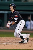 Third baseman Matt Orlando (13) of the Maryland Terrapins bats in a game against the Michigan State Spartans on Saturday, March 6, 2021, at Fluor Field at the West End in Greenville, South Carolina. (Tom Priddy/Four Seam Images)