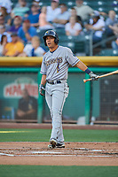 Rafael Ortega (5) of the New Orleans Baby Cakes bats against the Salt Lake Bees at Smith's Ballpark on June 11, 2018 in Salt Lake City, Utah. New Orleans defeated Salt Lake 6-5.  (Stephen Smith/Four Seam Images)