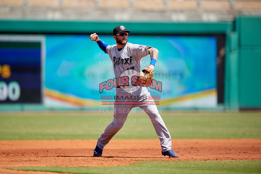 Biloxi Shuckers third baseman Lucas Erceg (17) throws to first base during a game against the Montgomery Biscuits on May 8, 2018 at Montgomery Riverwalk Stadium in Montgomery, Alabama.  Montgomery defeated Biloxi 10-5.  (Mike Janes/Four Seam Images)