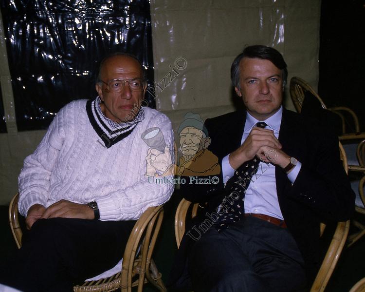 FEDELE CONFALONIERI CON FERRUCCIO DE BORTOLI<br /> FESTA PER I 60 ANNI DI MAURIZIO COSTANZO<br /> MANEGGIO DI GIANNELLA  1998