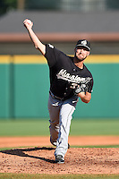 San Antonio Missions pitcher John Hussey (34) delivers a pitch during a game against the Arkansas Travelers on May 25, 2014 at Dickey-Stephens Park in Little Rock, Arkansas.  Arkansas defeated San Antonio 3-1.  (Mike Janes/Four Seam Images)