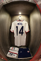 GUADALAJARA, MEXICO - MARCH 24: The locker of Benjamin Michel #14 of the United States before a game between Mexico and USMNT U-23 at Estadio Jalisco on March 24, 2021 in Guadalajara, Mexico.