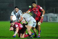 Wyn Jones of Scarlets is tackled by Beka Gigashvili of Toulon during the European Rugby Challenge Cup Round 5 match between the Scarlets and RC Toulon at the Parc Y Scarlets in Llanelli, Wales, UK. Saturday January 11 2020