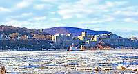 Ice flows on The Hudson passing West Point. Coast Guard clearing ice on Hudson