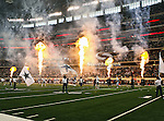 Fireworks light up the stadium before the Thanksgiving Day game between the Miami Dolphins and the Dallas Cowboys at the Cowboys Stadium in Arlington, Texas. Dallas defeats Miami 20 to 19...