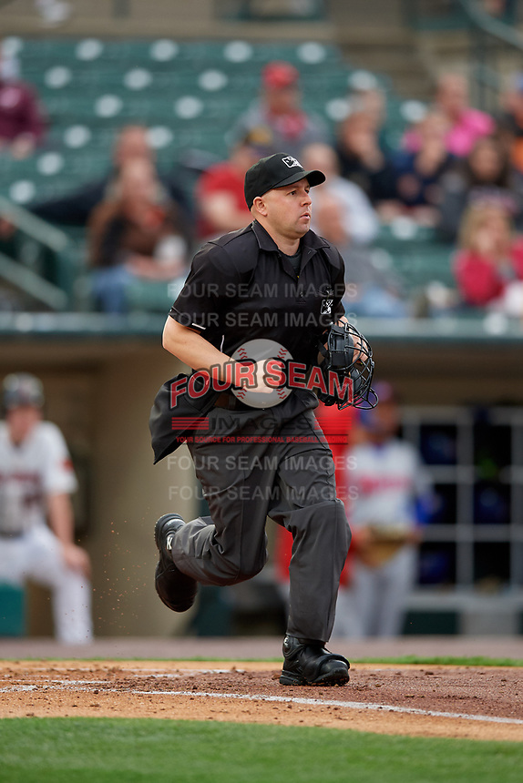 Umpire Rich Grassa during an International League game between the Buffalo Bisons and Rochester Red Wings on May 31, 2019 at Frontier Field in Rochester, New York.  Rochester defeated Buffalo 5-4 in ten innings.  (Mike Janes/Four Seam Images)