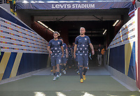 Santa Clara, CA - Wednesday July 26, 2017: Graham Zusi, Michael Bradley during the 2017 Gold Cup Final Championship match between the men's national teams of the United States (USA) and Jamaica (JAM) at Levi's Stadium.