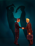 Two businessmen shaking hands with behind black shadows showing crime