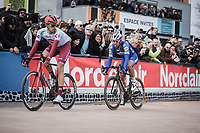 Philippe Gilbert (BEL/Deceuninck Quick Step) sitting in Nils Politt's  (GER/Katusha Alpecin) slipstream inside the famous Roubaix Velodrome. <br /> <br /> <br /> 117th Paris-Roubaix (1.UWT)<br /> 1 Day Race: Compiègne-Roubaix (257km)<br /> <br /> ©kramon