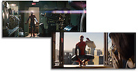 Two frame grabs from the finished commercial.