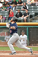 Aaron Cunningham (3) of the Reno Aces at bat against the Salt Lake Bees at Smith's Ballpark on May 4, 2014 in Salt Lake City, Utah.  (Stephen Smith/Four Seam Images)