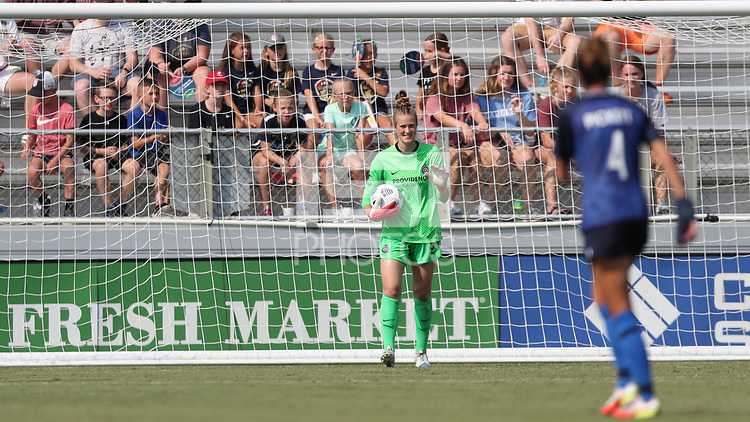 CARY, NC - SEPTEMBER 12: Bella Bixby #31 of the Portland Thorns FC holds the ball during a game between Portland Thorns FC and North Carolina Courage at Sahlen's Stadium at WakeMed Soccer Park on September 12, 2021 in Cary, North Carolina.