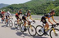 11th July 2021, Ceret, Pyrénées-Orientales, France; Tour de France cycling tour, stage 15, Ceret to  Andorre-La-Vieille;  KUSS Sepp (USA) of JUMBO - VISMA, KRUIJSWIJK Steven (NED) of JUMBO - VISMA, VAN AERT Wout (BEL) of JUMBO - VISMA  during stage 15 of the 108th edition of the 2021 Tour de France cycling race, a stage of 191,3 kms between Ceret and Andorre-La-Vieille