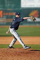 Wingate Bulldogs relief pitcher Riley Isenhour (21) in action against the Catawba Indians at Newman Park on March 19, 2017 in Salisbury, North Carolina. The Indians defeated the Bulldogs 12-6. (Brian Westerholt/Four Seam Images)