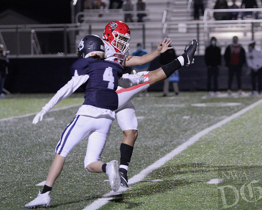 Har-Ber Wildcats Junior Preston Stevens (4) tries to block a Fort Smith Northside Grizzlies punt during the frist round play-off game Friday, November 13, 2020, at Wildcat Stadium, Springdale, Arkansas (Special to NWA Democrat-Gazette/Brent Soule)