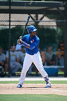 GCL Blue Jays first baseman Yhordegny Kelly (49) at bat during a game against the GCL Pirates on July 20, 2017 at Bobby Mattick Training Center at Englebert Complex in Dunedin, Florida.  GCL Pirates defeated the GCL Blue Jays 11-6 in eleven innings.  (Mike Janes/Four Seam Images)