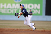 Asheville Tourists second baseman Jose Rivera #3 reacts to a popup during a game against the  Kannapolis Intimidators at McCormick Field on May 9, 2013 in Asheville, North Carolina. The Intimidators won the game 13-12. (Tony Farlow/Four Seam Images).