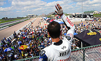 AMA Superbike race Geoff May waves to fans before Saturday's American Superbike race during the Tornado Nationals at Heartland Park Topeka, in Topeka, Kansas, August 1, 2009. (Photo by Brian Cleary/www.bcpix.com)
