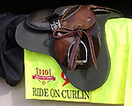 April 21, 2014 sSaddle and saddle cloth of Ride On Curlin at Churchill Downs. Trainer William G. Gowan. He is owned by Daniel J. Dougherty and will be ridden by Calvin Borel in the Kentucky Derby.