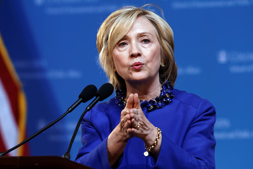 Democrat presidential candidate Hillary Clinton speaks during a campaign speech at Columbia University in New York City, 29 April 2015. photo by Trevor Collens