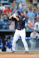 Asheville Tourists shortstop Pat Valaika #16 awaits a pitch during opening night game against the Delmarva Shorebirds at McCormick Field on April 3, 2014 in Asheville, North Carolina. The Tourists defeated the Shorebirds 8-3. (Tony Farlow/Four Seam Images)