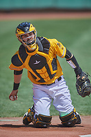 Anthony Bemboom (9) of the Salt Lake Bees before the game against the Tacoma Rainiers at Smith's Ballpark on May 16, 2021 in Salt Lake City, Utah. The Bees defeated the Rainiers 8-7. (Stephen Smith/Four Seam Images)
