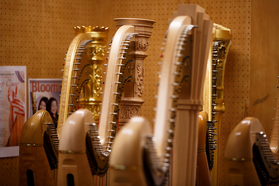 Harps sit in a storage room during the 11th USA International Harp Competition at Indiana University in Bloomington, Indiana on Wednesday, July 3, 2019. (Photo by James Brosher)