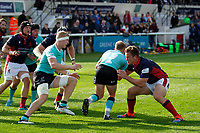 Kyle Whyte of London Scottish tackles Cameron Jordan of Nottingham Rugby during the Championship Cup match between London Scottish Football Club and Nottingham Rugby at Richmond Athletic Ground, Richmond, United Kingdom on 28 September 2019. Photo by Carlton Myrie / PRiME Media Images