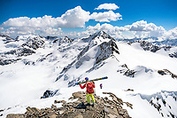 The Ortler Group in northern Italy is a popular region for spring ski touring using the huts for overnights to ski all the many peaks in the mountain group. The summit of the Punta Pedranzini, 3599 meters.