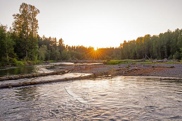Nisqually River, WA.  Summer sunset.